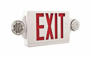 Lithonia Lightg Thermoplastic Door Led Lighted Exit Sign And Emergency Lights