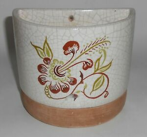 Barbara Willis Pottery Early Provincial Floral Wall Pocket Planter