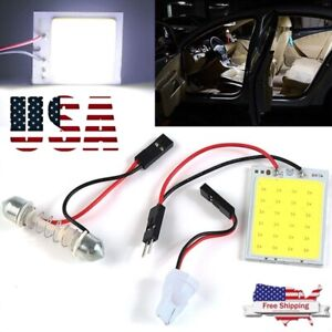 1x 48smd Cob White Panel Led T10 Car Interior Panel Light 12v Dome Lamp Bulb 4w