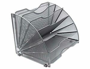 Easypag Fan shaped Desk File Organizer 6 Compartment Magazine Holder Silver