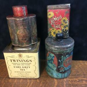Lot of 4 Antique Vintage TEA TINS Tetleys Twinings Tack Kee & Co. Maxwell House