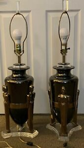 Pair 1980 S Hollywood Regency Bauer Lamp Company Lucite Metal W Brass Figures