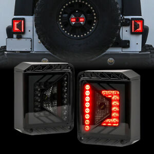 3d Style Smoked Led Taillights For 07 18 Jeep Wrangler Jk Jku Pair