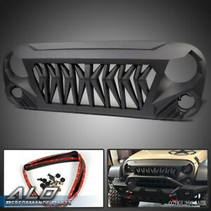 For 2007 2018 Jeep Wrangler Front Shark Grille Matt Black Abs Unlimited Rubicon