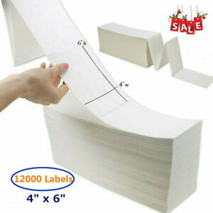 12000 4x6 Fanfold Direct Thermal Shipping Label Barcode Zebra 2844 Ca Ky Nj Ship