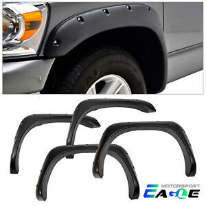Pocket Style Fender Flares For 2002 2009 Dodge Ram 1500 2500 3500 Black Rivet