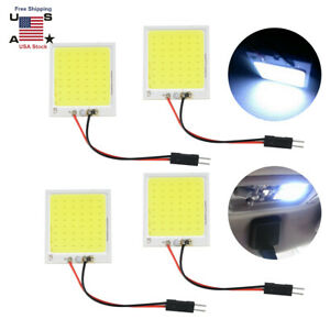 4x White 48 Smd Cob Led T10 4w 12v Car Interior Panel Light Dome Lamp Bulb