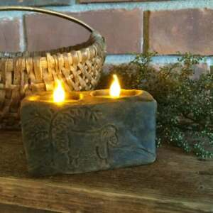 Primitive Country Scented Handmade Blackened Beeswax Sheep Farm Flicker Candle