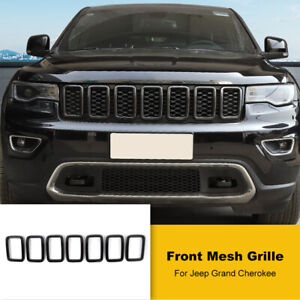 7x Carbon Fiber Front Grille Insert Ring Trim Cover For Jeep Grand Cherokee 17