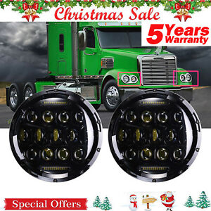 For 2001 16 Freightliner Coronado 7 Led Projector Headlights Hi Lo Total 150w