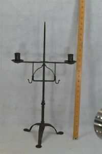 Candle Holder Stand Forged Iron Table Top 23 5 Tall 18th C Antique Original