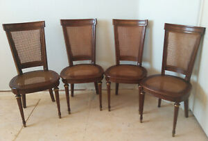 4 Drexel Heritage French Empire Dining Chairs With Caned Seat And Back