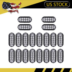20x Clear Red 10 Led 6 Oval Stop Brake Tail Light Flange Mount Truck Trailer Us