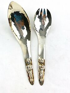 Vintage Acme Vancouver B C Hammered Silver Plated Salad Serving Spoons