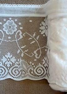 Vintage Princess Marie Cotton Lace Window Valance Shabby Chic White Brise Bise