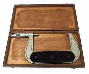 Etalon Outside Micrometer 4 5 Lock Switch Swiss made With Wooden Case