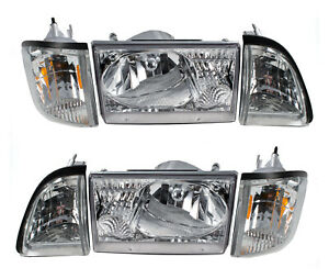 1987 1993 Ford Mustang 6 Piece Euro Clear Headlights Amber Side Marker Sae dot