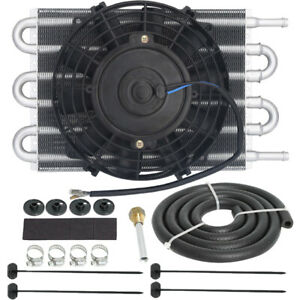 Universal Heavy Duty 6 Row Transmission Engine Oil Cooler Electric Fan Kit Auto