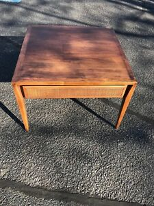 Square End Side Table Mid Century Modern Made Century Furniture Walnut Cane Draw