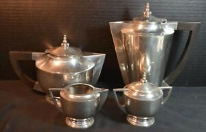 Frederick Lunning American Pewter Art Deco Coffee And Tea Set