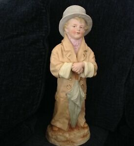 Antique 13 Heubach German Figurine Piano Baby Boy In Father S Clothes Hp Bisque