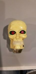 Vintage Skull Shifter Knob Bright Red Jewel Eyes With Green Eye Sockets