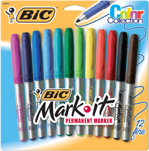 Bic Mark it Color Collection Permanent Markers Fine Point Assorted 12 Markers