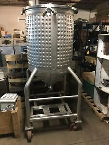100 Gallon Portable Jacketed Dimple Processing Tank Stainless Steel