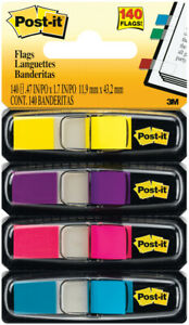 Post it Flags Assorted Colors 0 5 X 1 7 140 pack