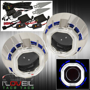 2 5 Bi Xenon Headlight Lamp Projector Lens Retrofit Ccfl Halo Shroud Hid Kit