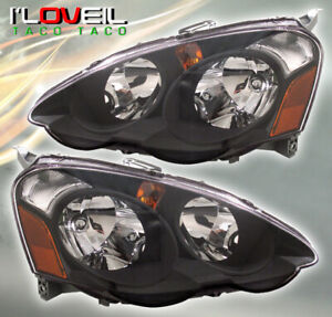 Black Amber Jdm Head Lights Lamps Assembly Lh Rh Pair For 2002 2004 Acura Rsx