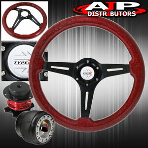 Quick Release For 94 01 Integra Red Wood Black Center Deep Dish Steering Wheel