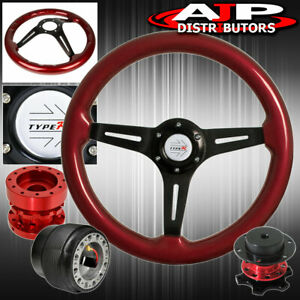 Red Wood Black Steering Wheel Red Extender Quick Release For 94 01 Integra
