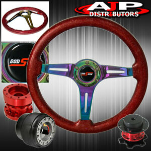 Extender Quick Release For 94 01 Integra Sparkle Red Neo Chrome Steering Wheel
