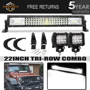 Tri Row 22 306w Led Light Bar Spot Flood Combo 4 Pods 4wd Truck Offroad 20