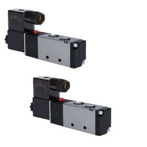 2x 1 4 Direction Control Air Solenoid Valve Pneumatic 4 Way 2 Position 110v Ac