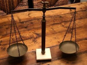 Vintage Scales Of Justice Law Brass Eagle Marble Base Eagle Ballance Scale