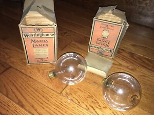 Pair Of Vintage Westinghouse Mazda Lamps Floodlight Bulbs Mib