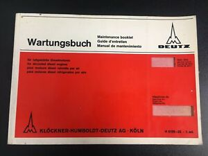 Vtg 1st Ed Deutz For Air Cooled Diesel Engines Maintenance Booklet h 0199 25