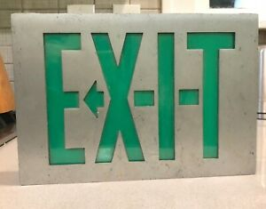 Vintage Day brite Lighted Metal Acrylic Glass Exit Sign Green Corded 1960s