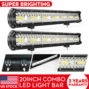 2pcs 22 Inch Tri row Led Light Bar Spot Flood Combo Offroad 4wd Truck Atv Suv