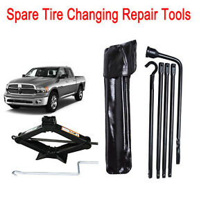 Tire Repair Tools Kit For Dodge Ram 1500 2002 2010 2015 2t Scissor Jack Steel