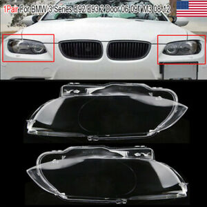 2x Headlight Headlamp Lens Cover For Bmw E92 E93 Coupe M3 328i 335i Cabrio 06 09