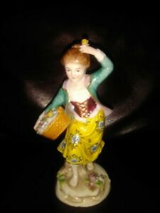 Antique Sitzendorf Porcelain Figurine Lady With Basket Of Flowers 7