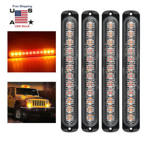 4x12led Amber Red Strobe Light Truck Hazard Beacon Flash Warn Emergency
