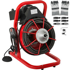 Drain Cleaning Machine Drum Drain Cleaner 50 x3 8 Solid Core Cable Foot Switch