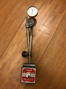 Starrett 657 Magnetic Base Indicator Holder With Starrett Dial And Accessories