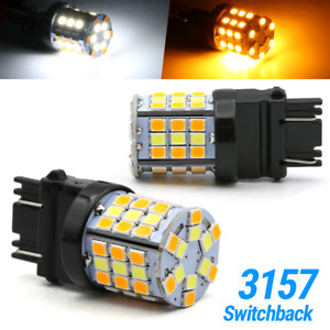New 3157 Led Switchback Turn Signal Drl Parking Light Bulbs White Amber