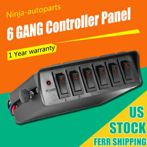 Universal 12v 6 gang Led Rocker Switch Panel Car Truck Boat Control Box 80a Fuse