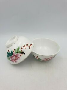 Chinese Porcelain Rice Soup Bowls Hand Painted Chinese Rose Bird Writing Pair